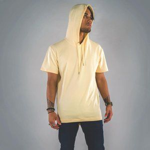 Cuzy T Mens Yellow Short Sleeve Bastal Tail Hoodie